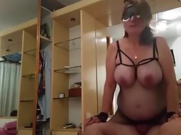 Chubby wife rides her man