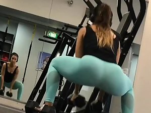 Peeping on butt during workout in gym