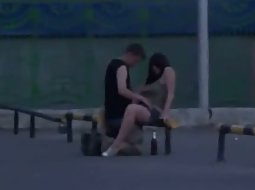 Couple trying sex in a weird spot