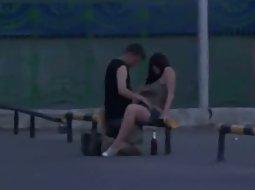 Couple trying sex in a weird spot