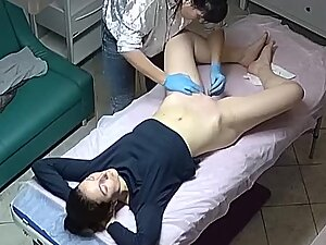 Hot brunette gets ass and pussy waxing