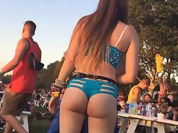 Slutty rave girl dances all alone