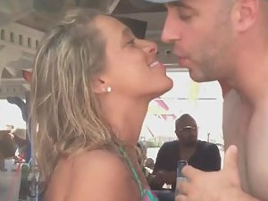 Drunk girl shows pussy in beach bar