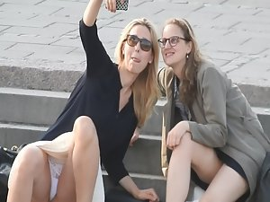 Upskirt during selfie with friend