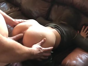 Muffled moans while he fucks her in the ass