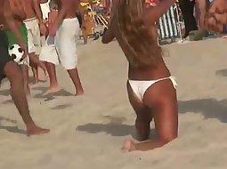 Perfect ass playing beach sports