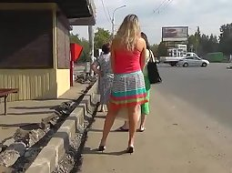 Sexy upskirt of a colorful blonde