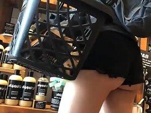 Strategically cut off shorts show tight ass cheeks