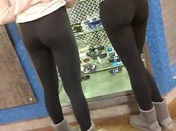 Two sisters in tight yoga pants