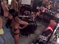 Strippers spied in the backroom
