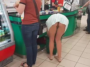 Deliberate pussy flash in supermarket