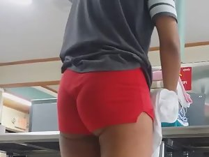 It isn't boring because of hot ass in red shorts