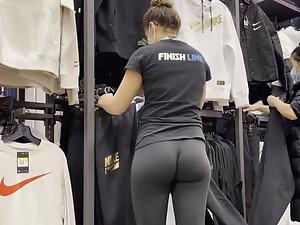 Leggings get inside her tight butt crack