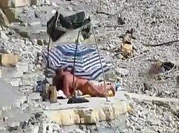 Voyeur caught group sex on a beach