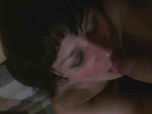 Horny brunette likes getting cum facial