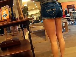 Hot ass in little jeans shorts