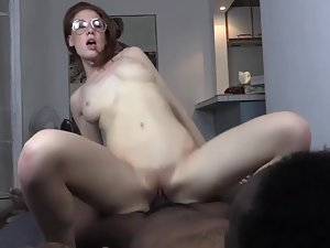 Ginger slut gets off on a big black dick