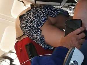 Hot upskirt video made in an airplane