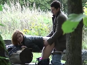 Voyeur sneaks on young couple having sex in park