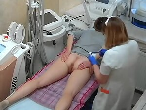 Anus and pussy hair removal caught by hidden cam