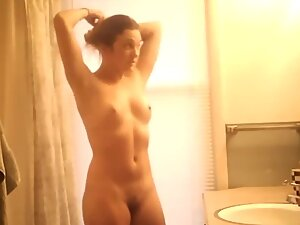 Fit naked body and small tits in bathroom