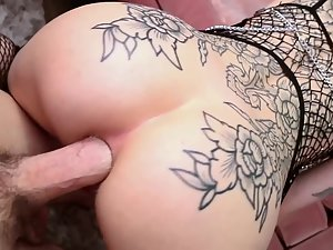 Fully tattooed girl loves a dick inside her pink asshole