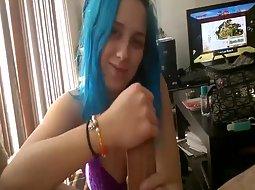 Punk girl gives a handjob