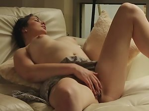 Beefy pussy rubbing in living room