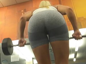 Fit blonde checked out in and out of gym