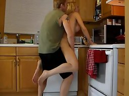 Sex roleplay in the kitchen