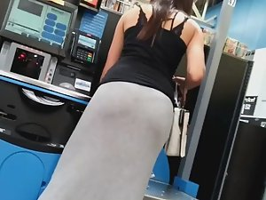 Long dress with visible thong panty line