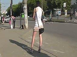 Peeping under her pretty skirt