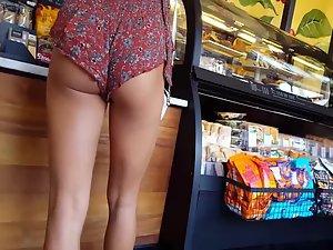Shorts reveal stunning legs and ass