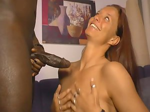 Redhead in delirium with black dick