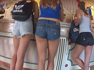 Three sexy teens in tight shorts