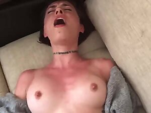 Horny girl has a loud orgasm during anal sex
