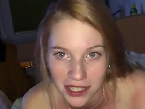 Tireless redhead sucks and wanks a hard dick