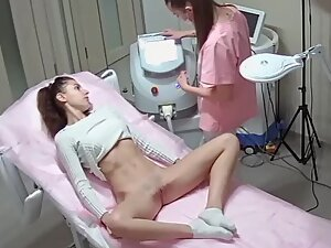Hot girl moans during hair removal treatment
