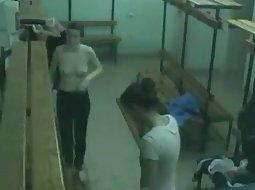 Peeping into the girls locker room