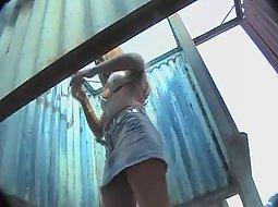Sexy girl puts a shiny bikini on - Voyeurs HD