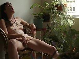 Hard masturbation on the balcony