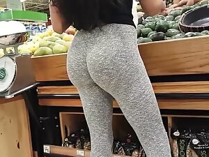 Insane butt on a slim woman in grey tights
