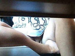 peak between her legs