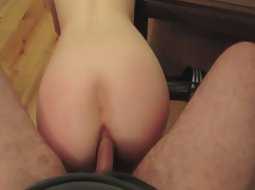 She uses his dick like an anal dildo