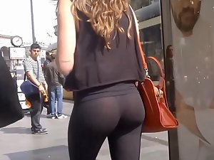Perfect round ass and thong in cheap tights