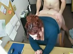 Fat coworker has sex at work