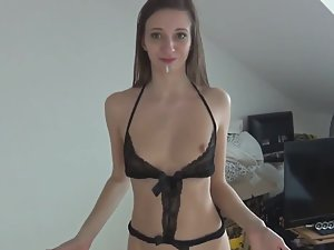 Sexy lingerie turns girlfriend into anal slut