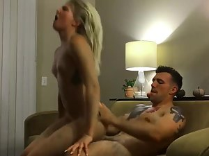Horny blonde does high jumps on big dick