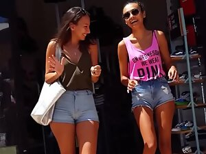 Hot friends are both pulling shorts out of pussy