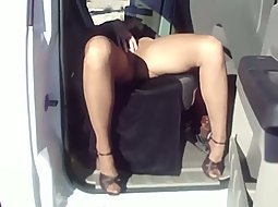Wife showing off her pussy in the car